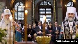 Президент Украины Виктор Ющенко на панихиде по жертвам Голодомора