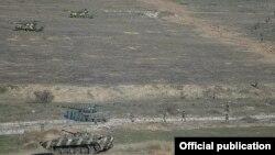 Nagorno-Karabakh - Armenian soldiers and tanks at a military exercise, 20Nov2015.