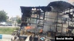 عکس مربوط به اعتراضات کازرون در روز پنجشنبه.