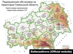 Мапа забруджваньня лясгасаў Гомельскай вобласьці цэзіем-137. Крыніца: «Беллесаахова»