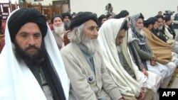 Members of a pro-Taliban delegation attend a meeting with Pakistani government officials in Peshawar on February 16