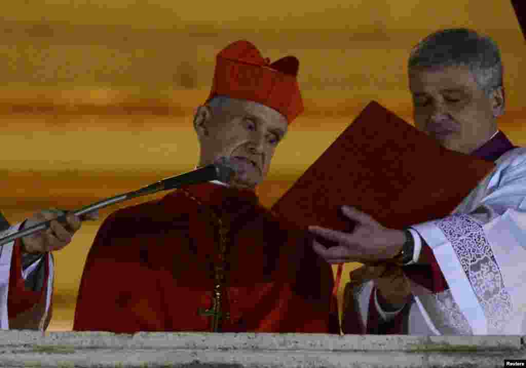 French Cardinal Jean-Louis Tauran announces Cardinal Jorge Mario Bergoglio of Argentina has been elected by the conclave at the Vatican.