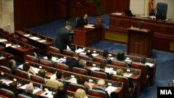 Seanca parlamentare ku u votua pro heqjes së imunitetit ndaj gjashtë deputetëve të VMRO-së
