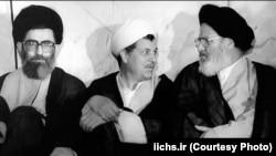 Iran -- Iran's powerful figure in 1980s, President Ali Khamenei (L), Parliament Speaker Akber Hashemi Rafsanjani (C) and Head of Judiciary Mousavi Ardabili, undated.