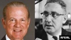 جمیز بیکر و هنری کیسنجر که در ادارهء چهار رییس جمهور مختلف امریکا به حیث وزرای خارجه ایفای وظیفه کرده اند