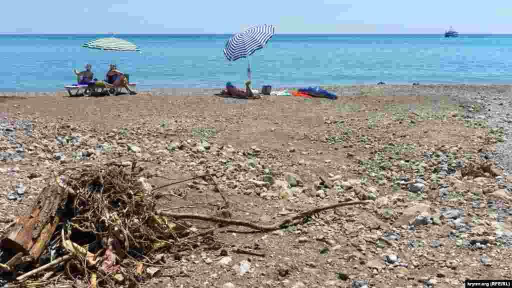 Пляжники біля брудної води начебто тільки засмагають