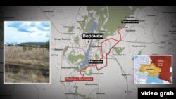 Ймовірне місце розташування табору російських військ у Воронезькій області