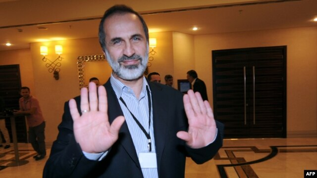 A member of the Syrian National Coalition, Ahmed Moaz al-Khatib, in Istanbul