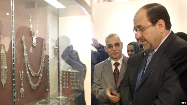 Prime Minister Nuri al-Maliki inspects antiquities during the reopening ceremony of the National Museum in Baghdad in February 2009.