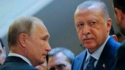 Russian President Vladimir Putin and Turkish President Recep Tayyip Erdogan before talks in Sochi, Russia, in September 2018.