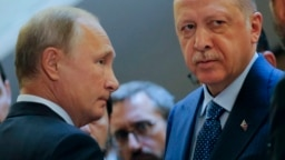 Russian President Vladimir Putin (left) and Turkish President Recep Tayyip Erdogan.