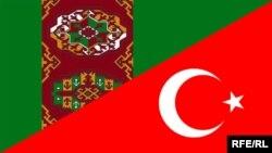 Türkmenistanyň we Türkiýäniň baýdaklary