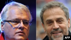 Croatian presidential candidates Ivo Josipovic (left) and Milan Bandic