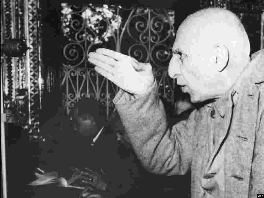 Ousted Prime Minister Mohammad Mossadegh during one of his frequent interruptions of court proceedings in Tehran's military tribunal in November 1953. He was tried for treason, for which he served three years in prison. He died under house arrest in 1967.