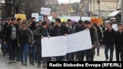 Протест на средношколци во Куманово против задолжително полагање математика на матура на 25 февруари 2015.