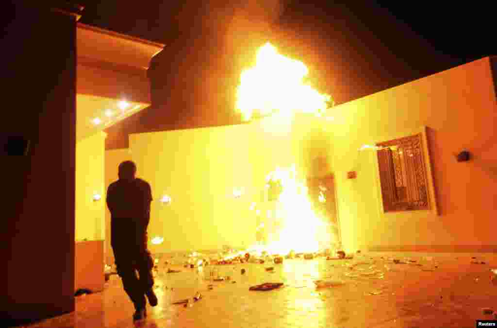 The U.S. Consulate in Benghazi burns.