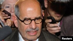 Egypt -- Mohamed ElBaradei talks to journalists outside Cairo's airport, 27Jan2011