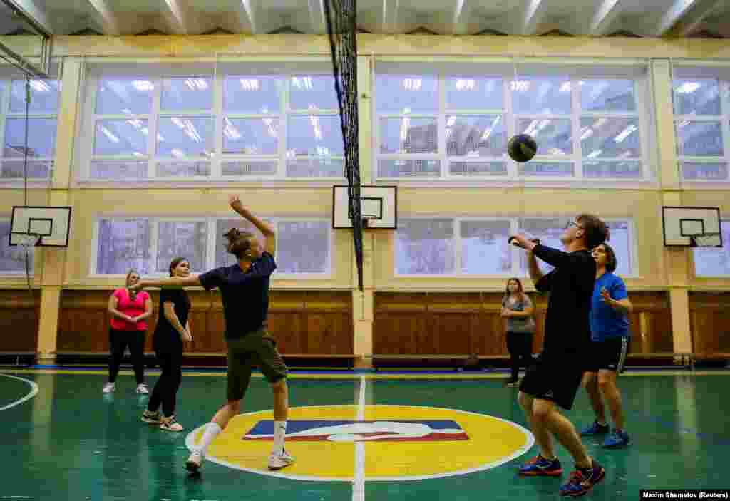 Students of the Russian-Norwegian school in Murmansk play volleyball. The school takes 10 students from each country for a one-year course to learn each other's language and culture.