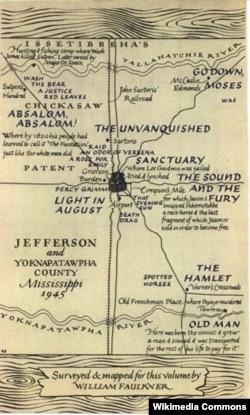 William Folknerin 1946-cı ildə özünün çəkdiyi əsərlərində hadisələrin baş verdiyi Yoknapatawpha qraflığının xəritəsi.