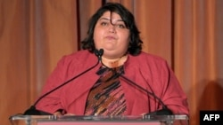 Honoree Khadija Ismayilova speaks at the 2012 Courage in Journalism Awards hosted by the International Women's Media Foundation in Beverly Hills, California, on October 29, 2012.