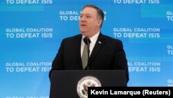 U.S. Secretary of State Mike Pompeo speaks at a gathering of foreign ministers aligned toward the defeat of Islamic State at the State Department in Washington on February 6.