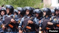 Armenian police troops at a rally to protest alleged voting fraud in the February 2008 presidential election