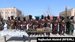 Haqqani network militants arrested in Paktia are displayed in January.