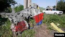 A piece of the wreckage is seen at a crash site of the Malaysia Airlines Flight 17 in the village of Petropavlivka in Donetsk region on July 24.