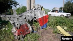 A piece of the wreckage is seen at a crash site of the Malaysia Airlines Flight 17 in the village of Petropavlivka (Petropavlovka), in the Donetsk region of eastern Ukraine, on July 24, a week after the crash.