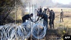 Զինվորականները փշալար են անցկացնում Եվրամիության անդամ երկու պետությունների՝ Սլովենիայի և Խորվաթիայի սահմանին, նոյեմբեր, 2015թ․