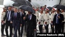 Генералниот секретар на НАТО, Јенс Столтенберг при прситигнувањето во Скопје