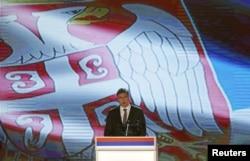 Премьер-министр Сербии Александр Вучич выступает на праздновании Дня Республики Сербской в Баня-Луке, 9 января 2016 года
