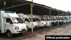 Машины скорой помощи, доставленные в Кыргызстан из Германии. Бишкек, 2 декабря 2017 года.