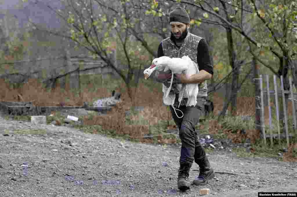 An ethnic Armenian man carries two geese as he packs up the contents of his home in the village of Charektar/Caraktar.