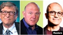 Комбіноване фото трьох по черзі керівників Microsoft (л -> п): Білл Ґейтс, Стів Баллмер, Сатья Наделла