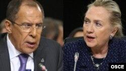 Fotografi e kombinuar e zonjës Clinton dhe e zotit Lavrov nga takimi në Irlandë