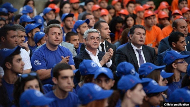 Armenia - President Serzh Sarkisian visits a pro-government youth camp in Tsaghkadzor, 23Aug2014.