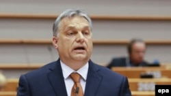 Hungarian Prime Minister Viktor Orban addresses a plenary session at the European Parliament on the situation in Hungary