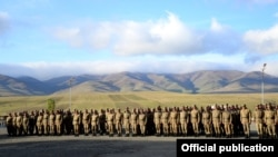 Armenia - Army soldiers are lined up at their military base in eastern Armenia, 21Oct2014.