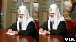 Патріарх РПЦ Кирило зі своїм дорогим годинником, який на фото після скандалу заретушували, однак залишилось його віддзеркалення на столі