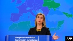 EU foreign policy chief Federica Mogherini speaks during a press conference on the European Neighborhood Policy at EU Headquarters in Brussels on March 4.