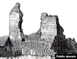 Княская вежа з таямнічым уваходам. Малюнак Язэпа Драздовіча