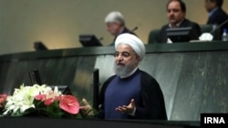 President Hassan Rouhani speaking in the Iranian parliament, September 3, 2019