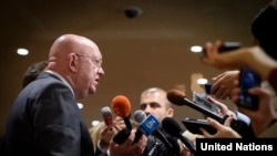 U.S. -- Russian Ambassador to the United States Vasily Nebenzya speaks to the reporters following Security Council consultations on Syria, at UN h