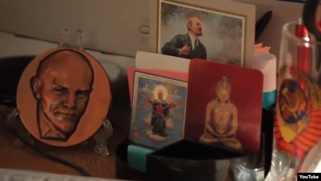 "A scene from the trailer to the 2013 documentary ""Leninland"" by Russian filmmaker Askold Kurov shows Lenin memorabilia together with religious artifacts."