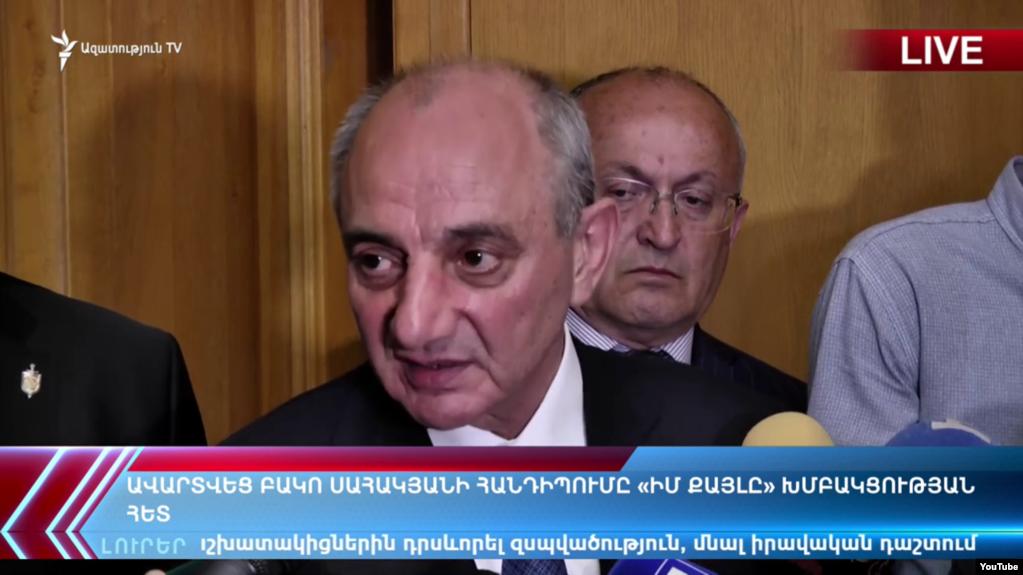 Бако Саакян ответил на вопросы журналистов после встречи с фракцией правящего блока «Мой шаг»