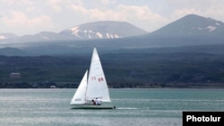 Armenia - A sailboat on Lake Sevan.