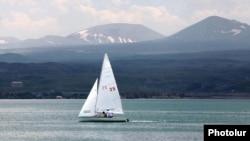 Armenia - A sailboat on Lake Sevan.
