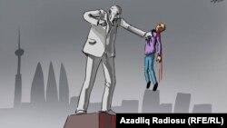 """""""Heykəl məhbusu"""". Karikatura. Gündüz Ağayev."""