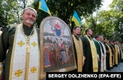 Військові капелани під час відзначення 1030-річчя хрещення Русі-України, коли була проведена хресна хода «За єдину помісну церкву». Київ, 28 липня 2018 року